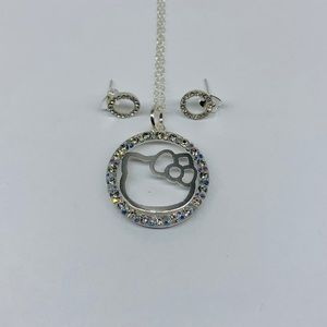 Hello kitty necklace and studs 925 sterling silver